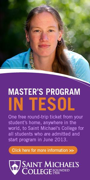 MA in TESOL Scholarship at www.smcvt.edu/travelpromotion