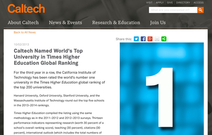 a-post-on-the-caltech-website-highlighting-the-universitys-top-ranking-in-the-times-higher-education-global-ranking-for-2014