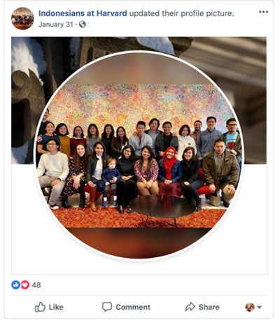 The profile picture of Indonesians at Harvard makes it clear to Indonesian prospects that they will find community if they choose Harvard