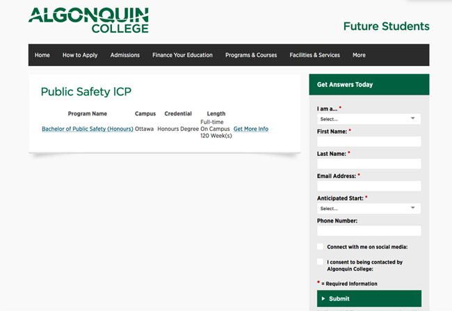 Algonquin College's form is not live chat, but it does communicate that the college takes inquiries – and fast response times – seriously.