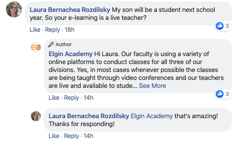 A parent receives prompt, helpful information from Elgin Academy, a prep school in Illinois. Source: Finalsite.com