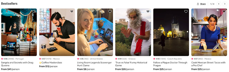 Some of the bestselling classes on Airbnb's Online Experiences main page.